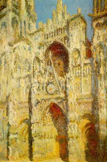 [画像 / ルーアン大聖堂、扉口とアルバーヌの鐘楼、充満する陽光]